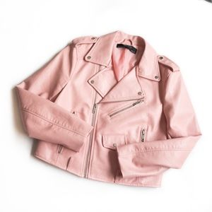 ZARA • PINK MOTO CROPPED BIKER JACKET LINED BLUSH